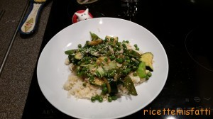 green veggies stir fry with egg fried rice