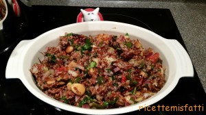 red rice salad with grilled vegetables
