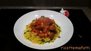 Moroccan chickpea stew with saffron couscous
